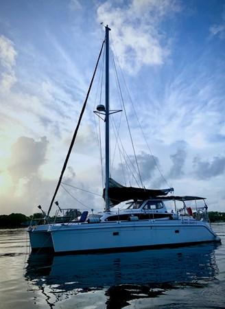 Gemini Legacy Catamaran Port Side on the water