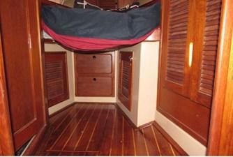 Storage below V-berth