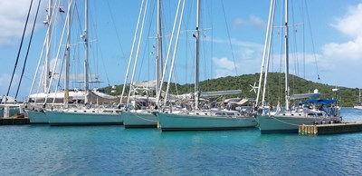 Five Outbound 46's in BVI - Salty Dawg Rally