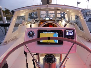 Hard dodger viewed from helm