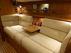 Cocktail table down on starboard settee