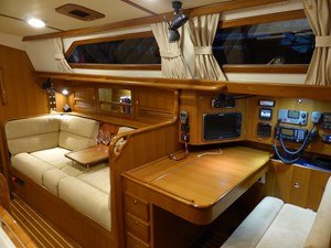 Nav station and starboard settee