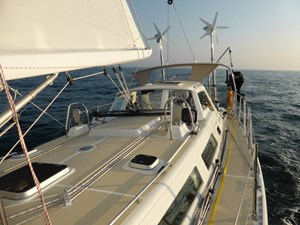 View from side deck under sail