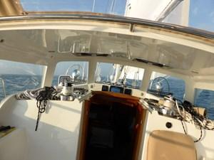 Sightline through hard dodger under sail