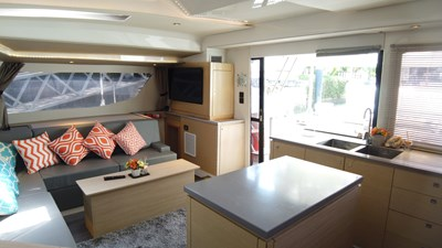 BLOW FISH Fountaine Pajot Saba 50 2015 Salon and galley island counter