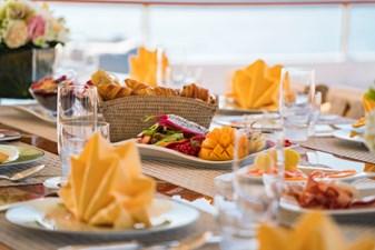 MOSAIQUE 37 Dining Detail: MOSAIQUE 163'  2002/2020 Proteksan Tri-Deck Motor Yacht