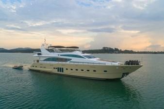 MIA KAI  7 MIA KAI Bilgin Tiago 100 - Starboard side profile at sunset.
