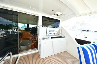 Flybridge Forward View with Wet Bar and Dual Electric Grilles