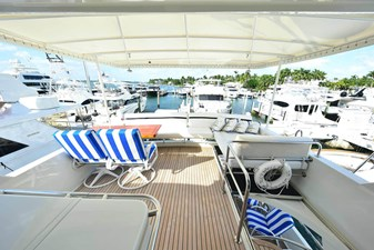 All's Well 23 Flybridge Deck Looking Aft with Custom Aft Seating, Table and Portside Lounge
