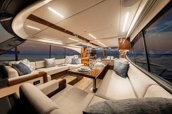 Riviera 50 Sports Motor Yacht Saloon 01 - Gloss Walnut Timber Finish