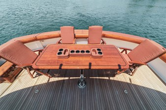 DR. DARK 65 Blue Water Teak Table and Chairs with Offset Base in Cockpit