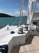 Marlow 25 Winches and teak on flybridge