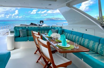CynderElla 19 Flybridge Seating and Dining