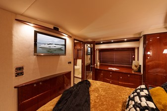 PERSPECTIVE 33 TV in the master stateroom