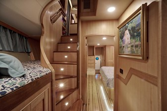 Running Tide 21 Stairs from Pilothouse and Single Berth