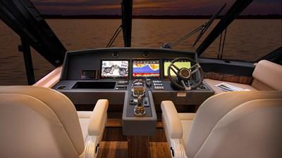 57 enclosed bridge 3 Riviera-57-Enclosed-Flybridge-Helm-02-Gloss-Walnut-Timber-Finish