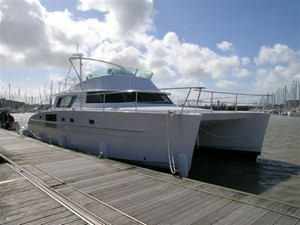46' 2007 Fountaine Pajot Cumberland 3 Starboard Side View at Dock