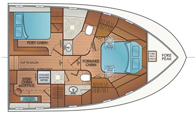3 Stateroom 2 Head Layout w/VIP Port & Stbd Office
