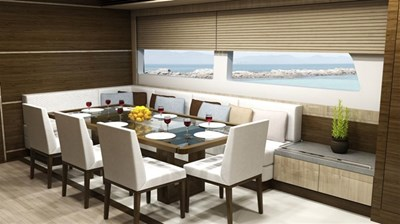 All Ocean Yachts 100' Steel 18 Dining area looking forward