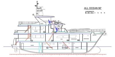 All Ocean Yachts 90' Fiberglass 2 Cutway View